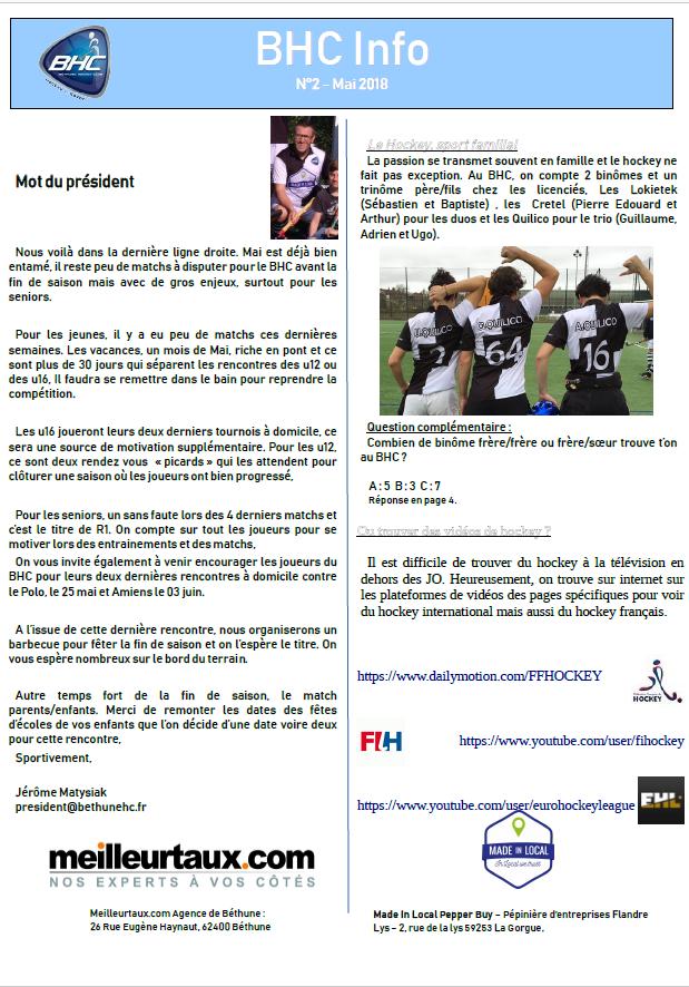 BHC Info n°2 : la lettre d'information de mai 2018